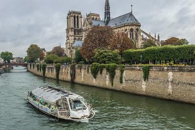 A Batobus Passes Notre Dame