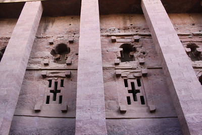 Lalibela-Bete Medhani Alem is biggest stone church 100'x70'x35' high