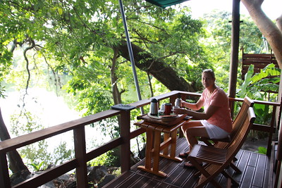 Coffee on our porch at Jicaro Lodge
