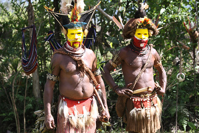 Huli wigmen with cassowary quills through noses