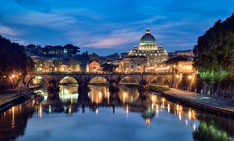 The Bridge of Angels and St. Peters Basilica; Rome, Italy