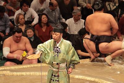 Yokozuna Harumafuji at ringside, May 2016 Grand Sumo Tournament, Tokyo