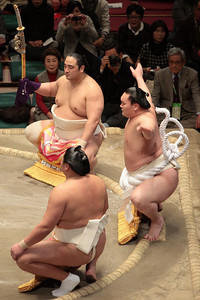 Dohyo-iri (Ring entry ceremony). Yokozuna Hakuho performs the ring entry ceremony at the Hatsu Basho, January 2011.