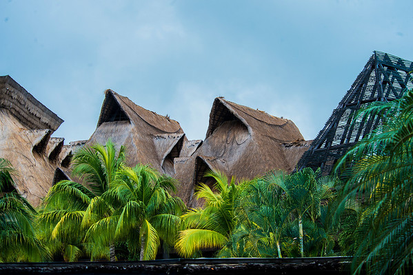 Grand roofs across the resort.