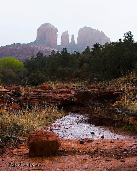 Rainy Day at Oak Creek, Arizona, with Cathedral Rock in the Background