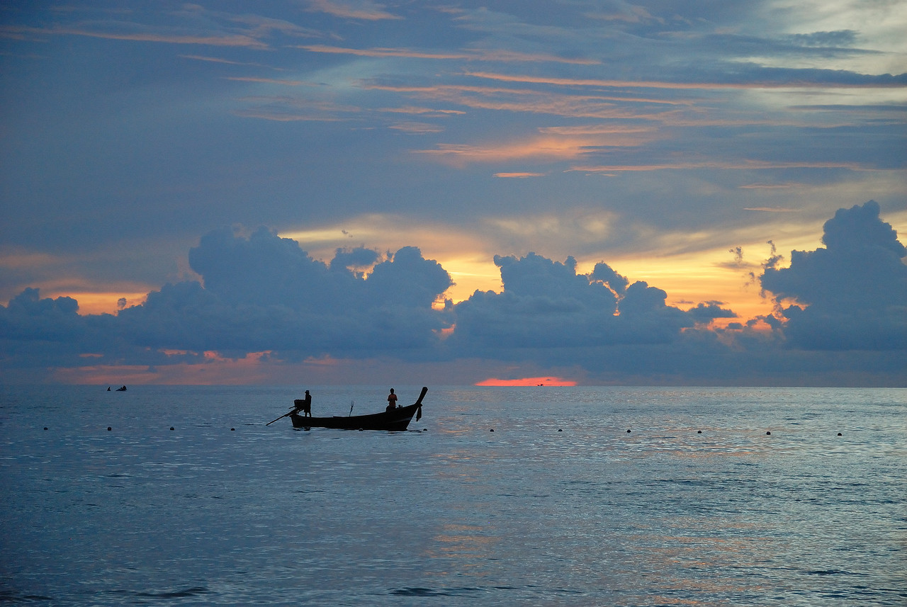 Fishing at sunset. Phuket, Thailand