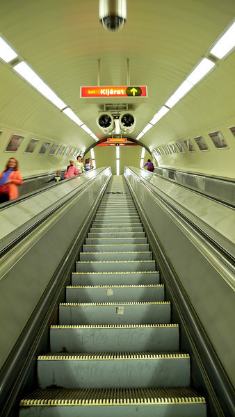 Deep Subway Escalators, Budapest, Hungary