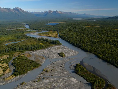 The Talkeetna River, a braided glacial river in southeast Alaska