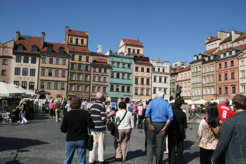 """The """"Old Town"""" of Warsaw.  This entire area was literally flattened in WWII by Hitler's Nazis.  After devasting bombings the Nazis came in with tanks and dynamite to destroy anything that was left.  Hitler did this in retaliation for the Warsaw Getto Uprising."""