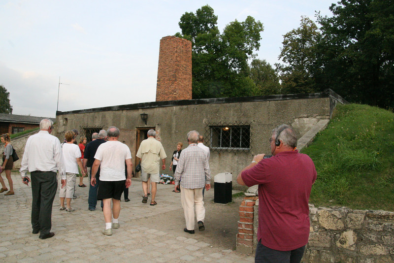 "The so called ""shower room"" or execution room at Auschwitz.  Note the chimney revealing the existence of the ovens..."