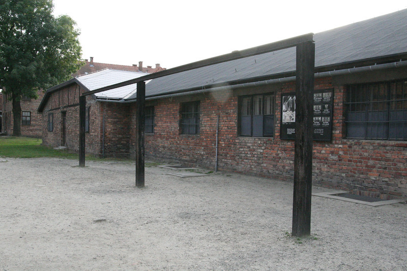 After roll call, if anyone was missing, prisoners would have to stand at attention until the SS officer was satisfied. Sometimes 12 hours or more in any weather. To intimidate the prisoners, the SS also conducted public hangings here. The largest such execution was carried out on 19 July 1943 when 12 Poles suspected of helping 3 prisoners escape were hanged together on these gallows.