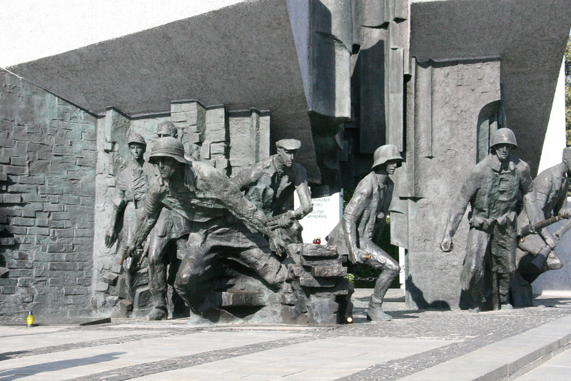 """Near the """"Old Town"""" of Warsaw is this monument to the brave Polish people who fought in the Warsaw Getto Uprising in WWII."""