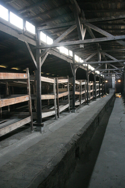 Three level beds for the prisoners of Birkenau