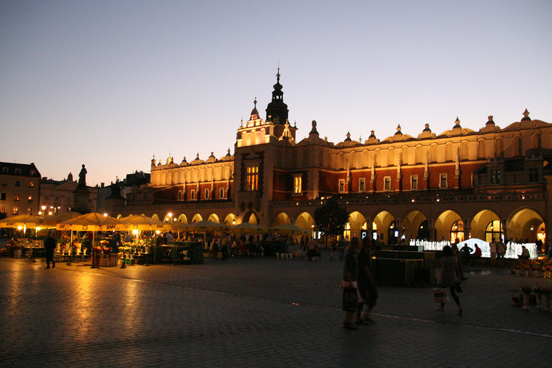 Krakow Town Square at night.