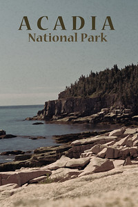 "Acadia National Park - ""Vintage"" Travel Poster"