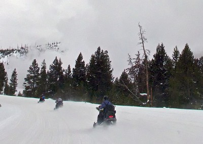 Snow Mobiling Through the Yellowstone National Park--solitude, and animals up close