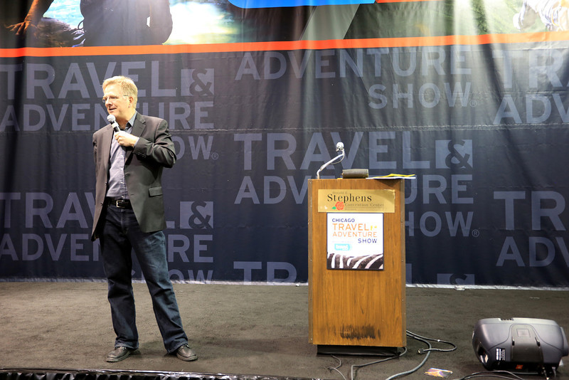 Rick Steves shares his experiences with the audience and how to be a smart traveler and save money.