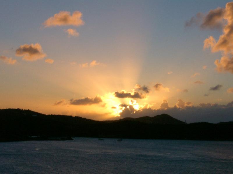 Sunset in Straits of Magellan.