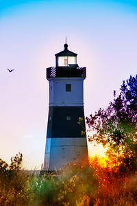 North Pier Lighthouse at Sunrise - Lake Erie