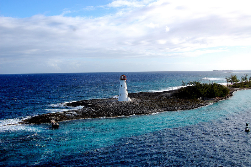 View of the light house from the cruise,Bahamas