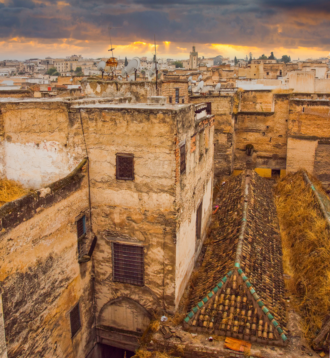 View from the rooftop area at the Riad Dar Bensouda, deep in the heart of the Fes Medina in Morocco