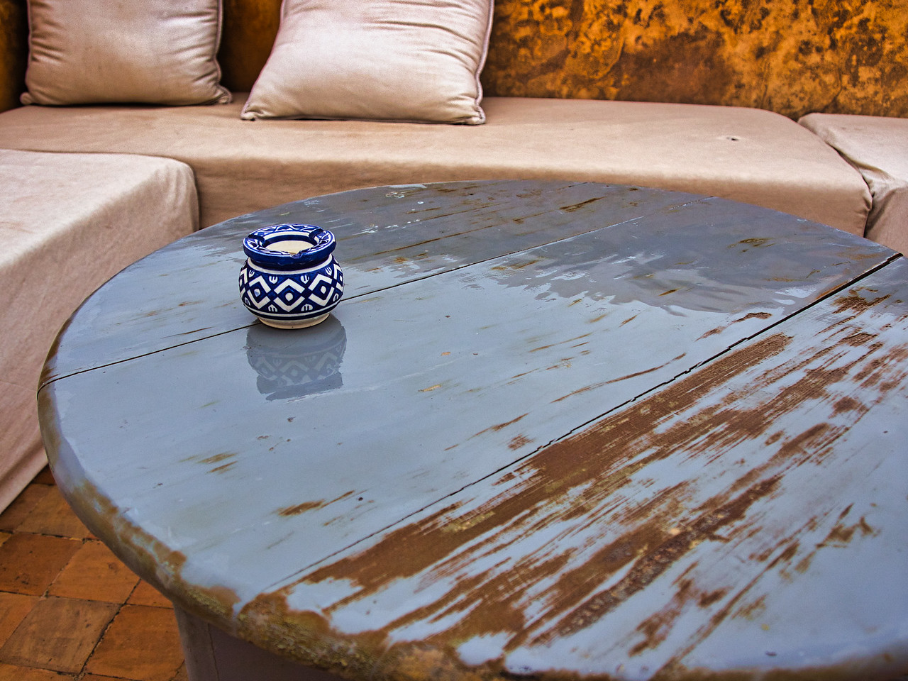 Rooftop area at the Riad Dar Bensouda, deep in the heart of the Fes Medina in Morocco