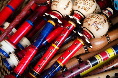 Colourful flutes Hand painted musical instruments in Mostar