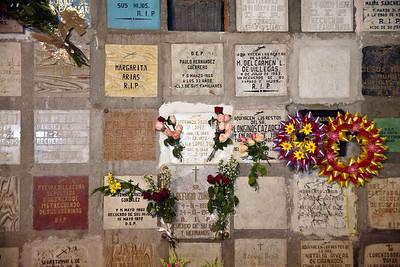 Memorial wall In San Miguel de Allende's parroquia crypt