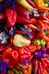 Marketplace hanging chillis Pike Place markets in Seattle, Washington, USA