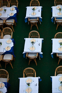 An aerial view of a cafe Tables settings in A Dubrovnik cafe