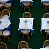 An aerial view of a cafe<br /> Tables settings in A Dubrovnik cafe