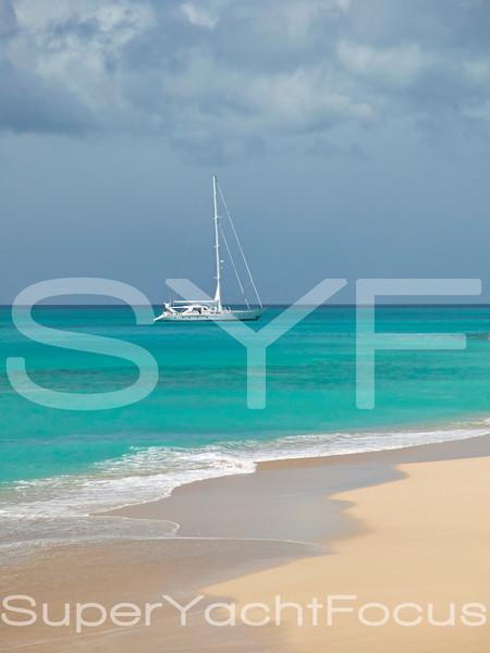 Sailing yacht,Antigua beach