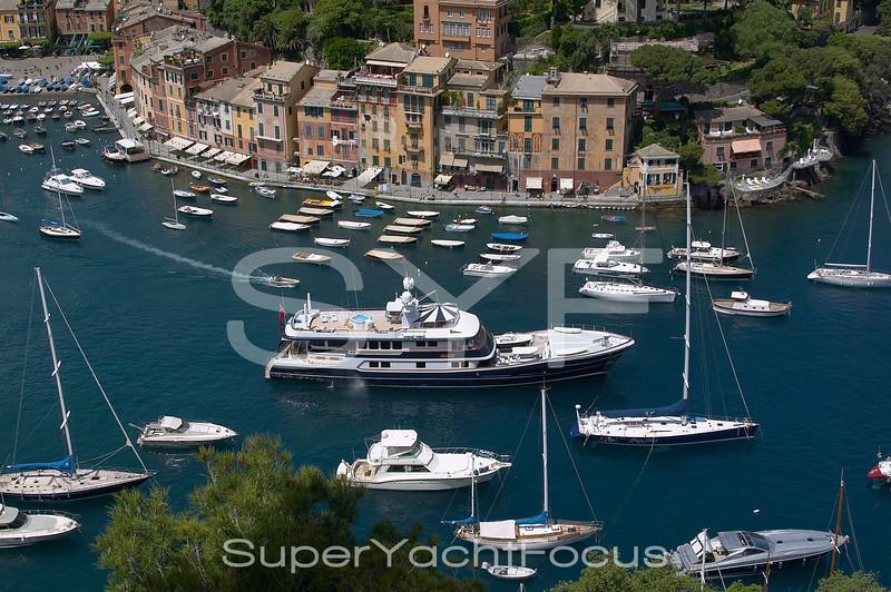 Portofino with superyacht