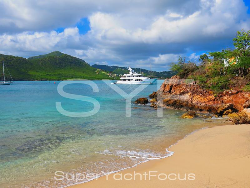 Feadship,GO,at anchor in Antigua