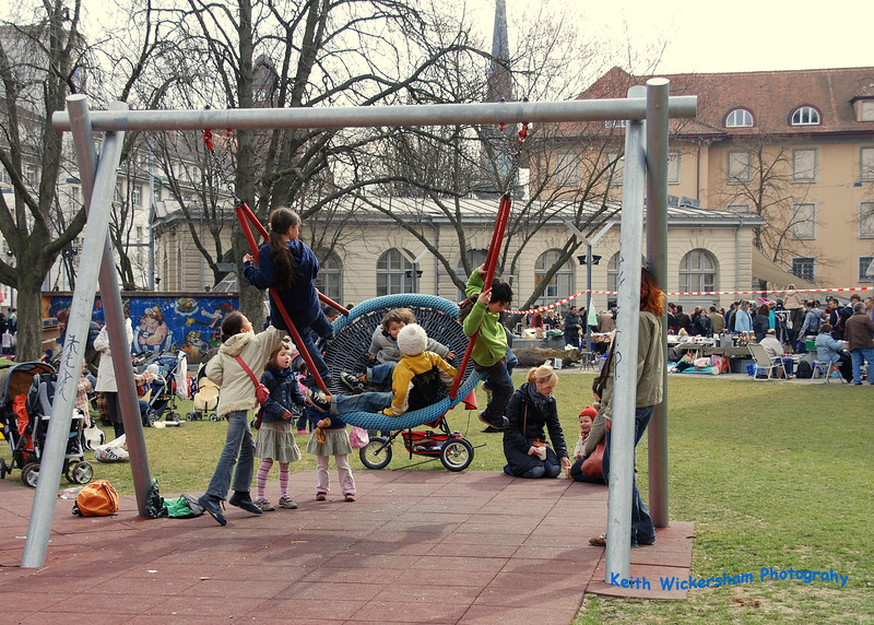 A cool Basket Swing for children at a park in Zurich. There was a Flea Market there on this weekend.