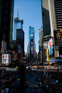 Times Square from the steps of the TKTS booth.