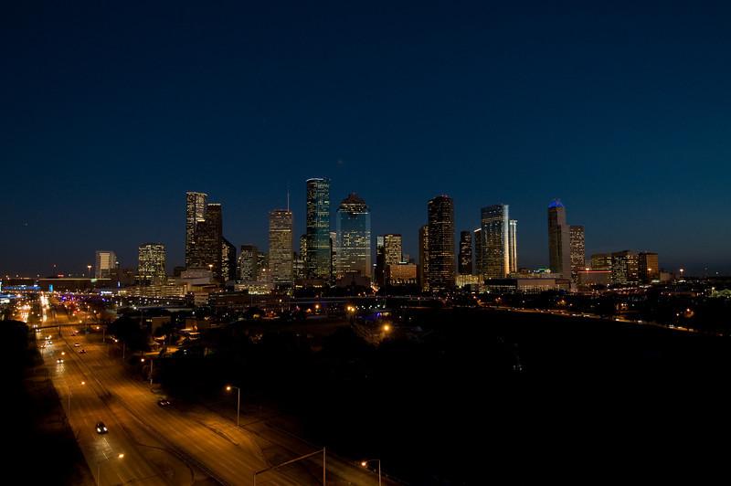 Downtown Houston as dusk