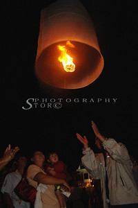 Letting go the lantern in Chiang Mai Lantern Festival.