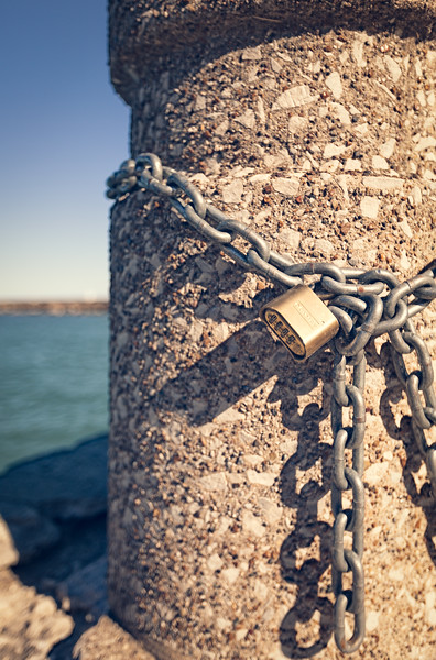 A Lock on a Dock by a Lake