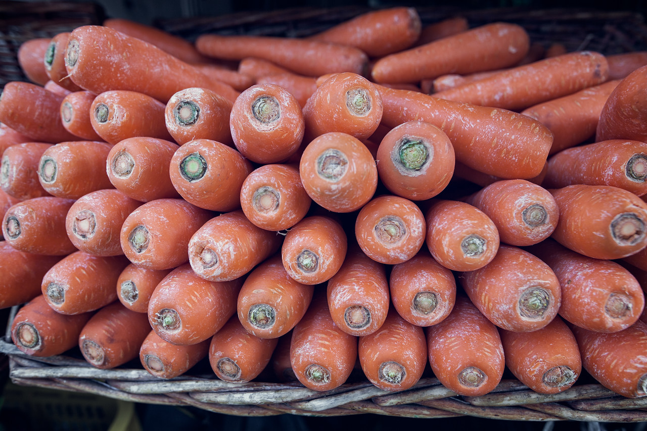 Carrots in Little India Street Market in Singapore