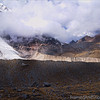 <center><Strong>The Andes<br> This is taken at 4980m (16338 ft) in the Andes in Peru on a route named The Salcantay Trek.  This route is one of the lesser known and virtually void of tourists.  This is the highest point on this 7 day trek and at this altitude, even holding the camera was hard work. What impressed us was the very obvious (and recent) moraines left by the receding glacier.  We should have gone closer to get a better view, but…….