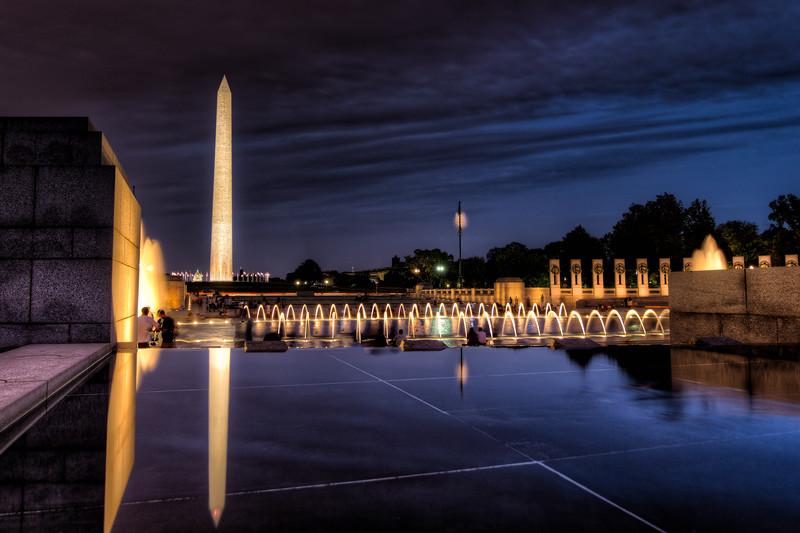 WWII and Washington Memorials at Night