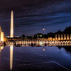 WWII and Washington Memorials at Night