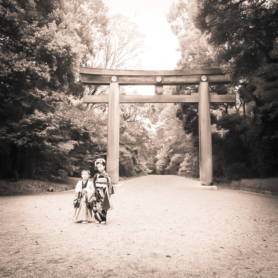 Traditionally Dressed Japanese Kids at Meiji Shrine
