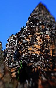 Smiling Buddha in Angkor Wat, Cambodia.