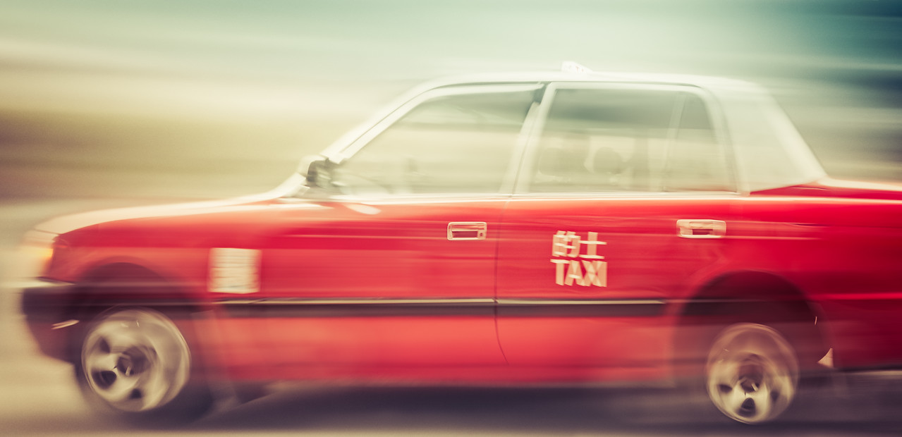 Red Taxi in Hong Kong