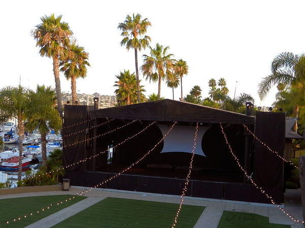 This is the view of the concert stage from my room.  For the DMS concert later that day, the string lights were removed.