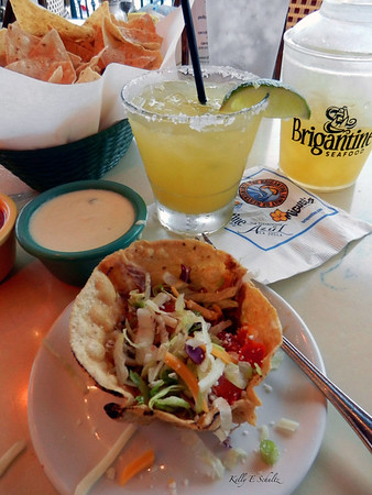 Last meal in San Diego ~ top shelf margarita, chips and queso and a small salad.