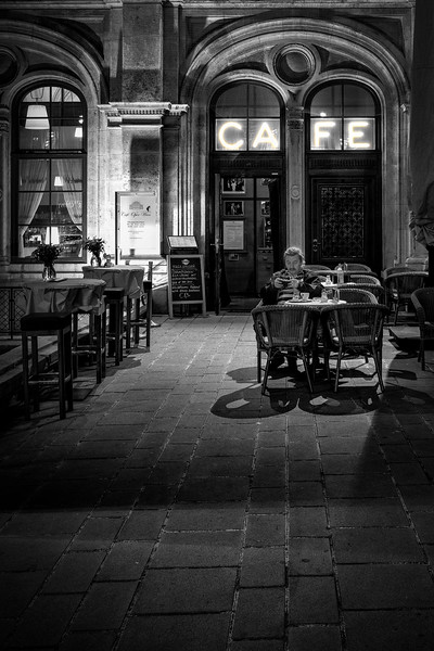 Noir Scene at the Vienna Oper House Cafe
