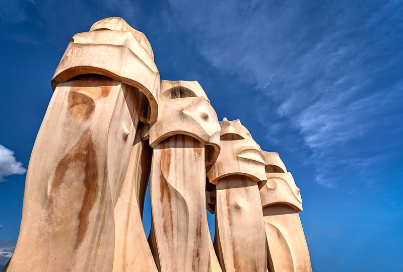 Gaudi Chimney's and a Blue Sky in Barcelona